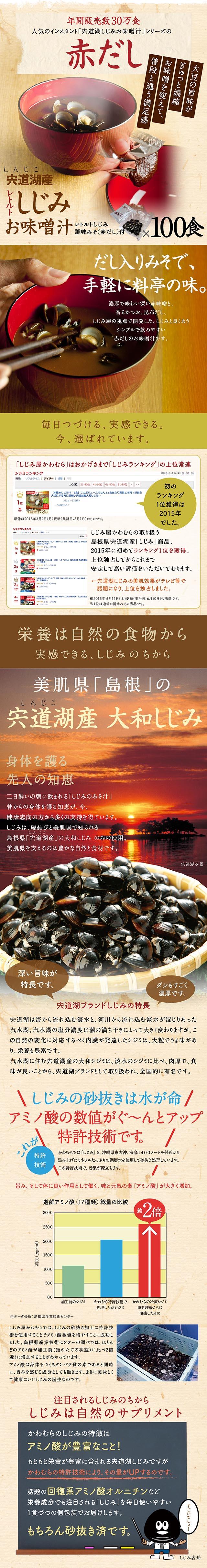 人気のレトルト宍道湖産しじみお味噌汁に赤だしタイプの調味味噌が登場しました。30食