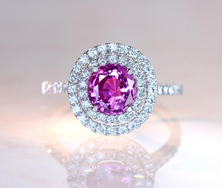 PT900 ピンクサファイア 1.588ct リング ダイヤモンド 0.53ct 二重取り巻き ※GIA鑑別書付