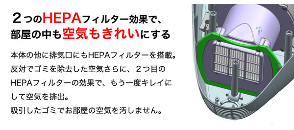 2つのHEPAフィルター効果で、部屋の中も空気もきれいにする