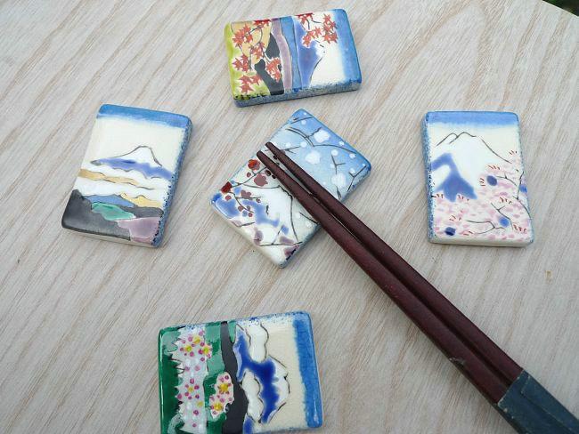 【京焼 清水焼】羽子板箸置き新春草花 清水焼