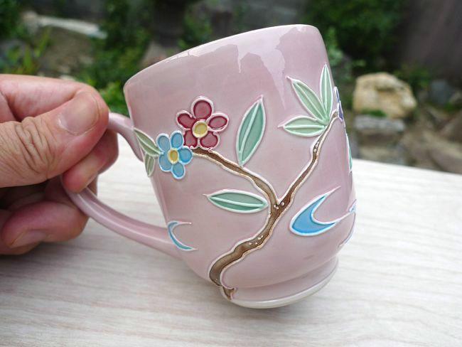【京焼清水焼】紫交趾六瓢湯呑み 昇峰