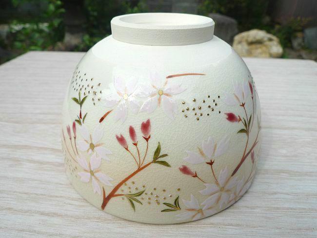 清水焼、桜の抹茶碗