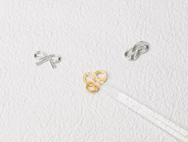 箸置 - 結び 3ヶ入 金箔入