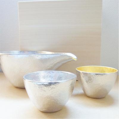 片口 - 大・ぐい呑錫・金箔セット(桐箱入)