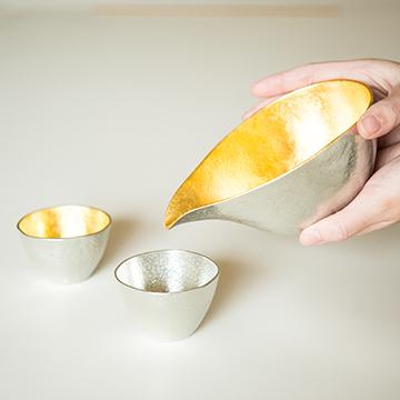 片口 - 大 金箔・ぐい呑 錫・金箔セット(桐箱入)