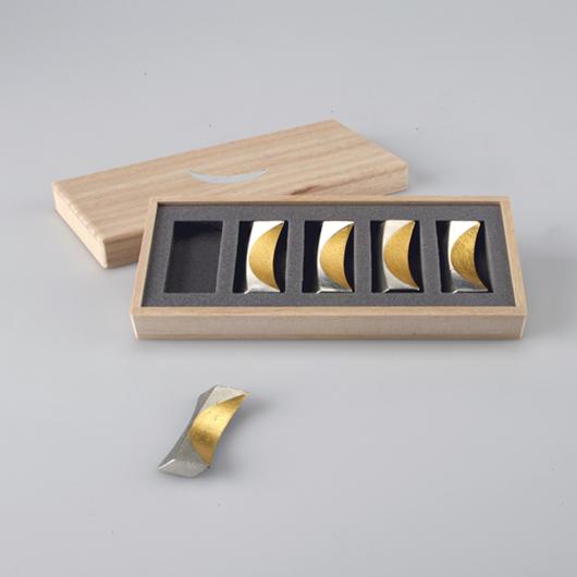 箸置 - 「月」 5ヶ入 金箔
