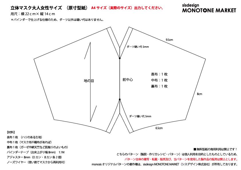 立体 マスク の 型紙 の 作り方