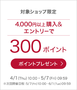 4000円以上ご購入&エントリーで300ポイントプレゼント