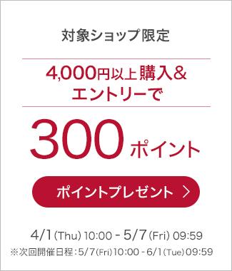 4,000円(税込)以上購入&エントリーで300ポイントプレゼント