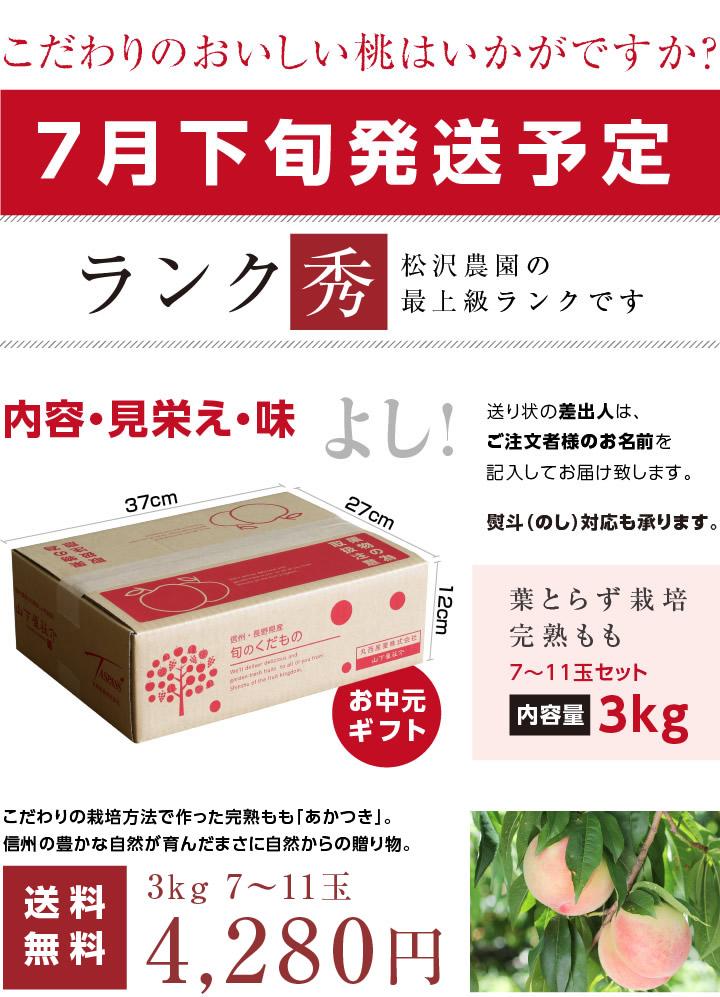【送料無料】長野産 桃(もも)3kg。産地直送にてお届け。もぎたて新鮮!極上桃(あかつき)