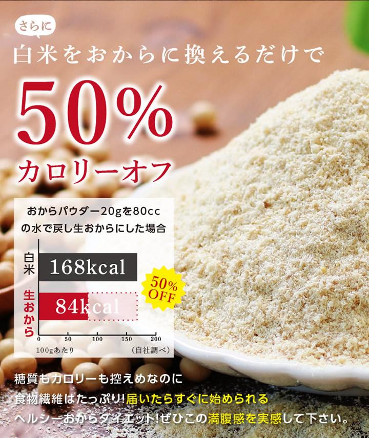 白米をおからに置き換えるだけでカロリー50%OFF