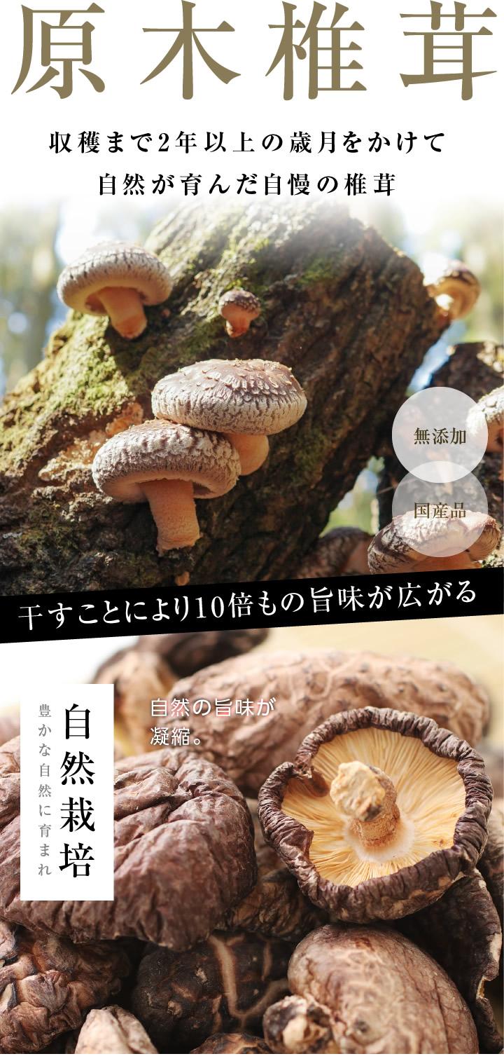 原木椎茸。収穫まで2年以上の歳月をかけて自然が育んだ自慢の椎茸