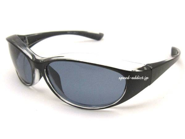 POLARIZED BIKER SHADE WIND GUARD BLACK/CLEAR × 偏光SMOKE