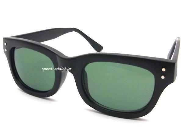 60's STYLE OLD WELLINGTON SUNGLASS 艶消  しBLACK × DARK GREEN