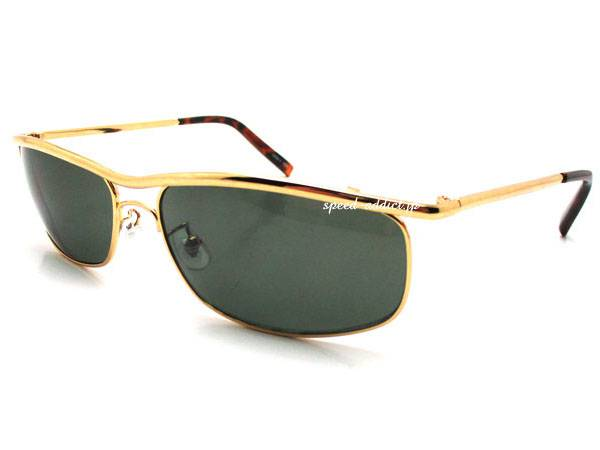 CAPTAIN AMERICA SUNGLASS GOLD/べっ甲 × DARK GREEN