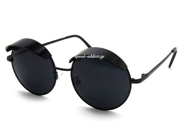 30's STYLE VISOR ROUND SUNGLASS BLACK × SMOKE