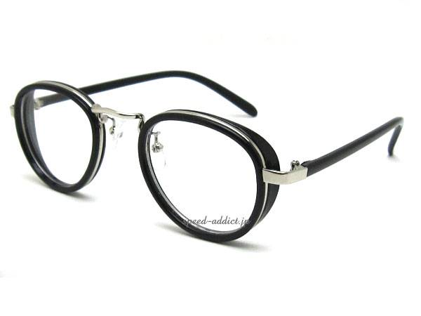 30's STYLE ROUND SUNGLASS マチ付 BLACK ×   CLEAR