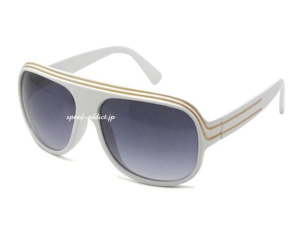 60's STYLE RETRO SUNGLASS WHITE × SMOKE HALF