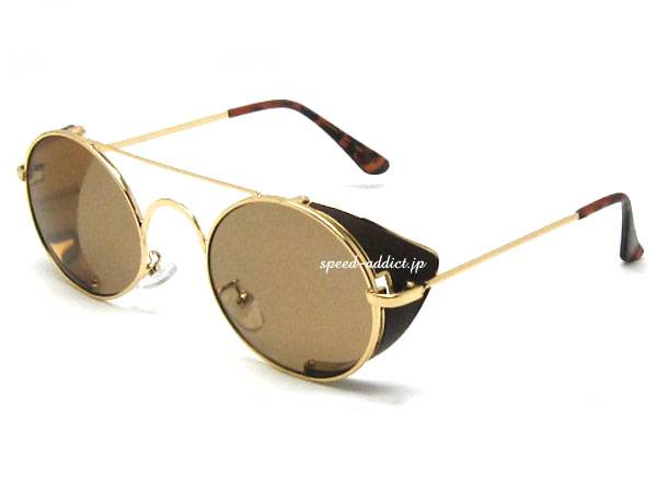 30's STYLE 可変式 SIDE COVER ROUND SUNGLASS   GOLD × BROWN