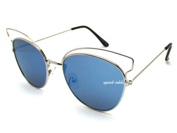 2CURVE BROW FOX SUNGLASS SILVER × BLUE MIRROR