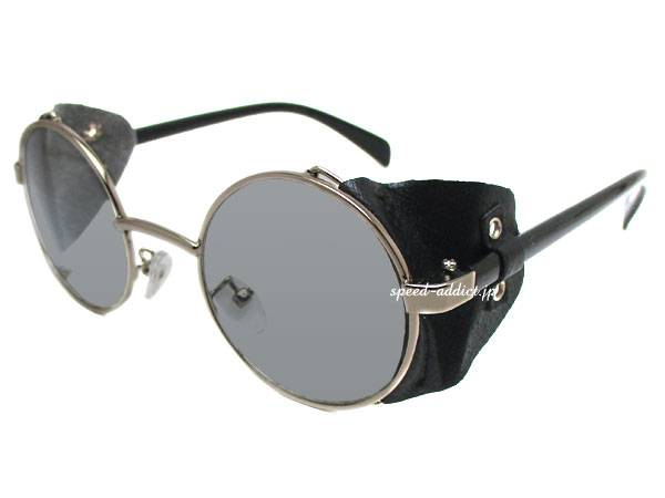 30's STYLE LEATHER SIDE COVER ROUND   SUNGLASS SILVER/BLACK × SMOKE
