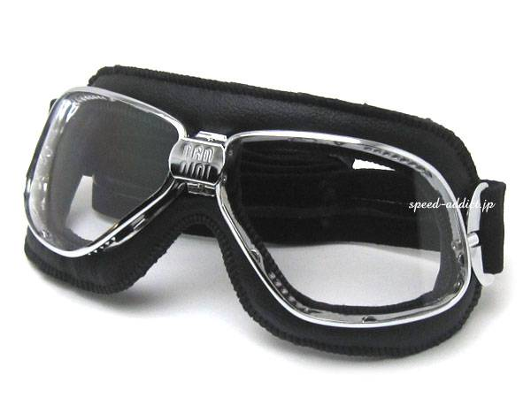 nannini Biker GOGGLE BLACK/CHROME × ANTI FOG CLEAR