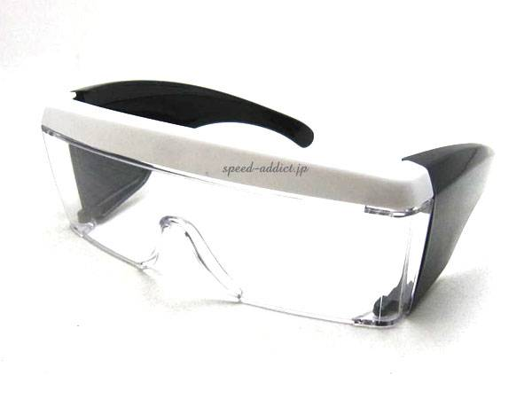 OVER GLASS GOGGLE BLACK/WHITE × CLEAR