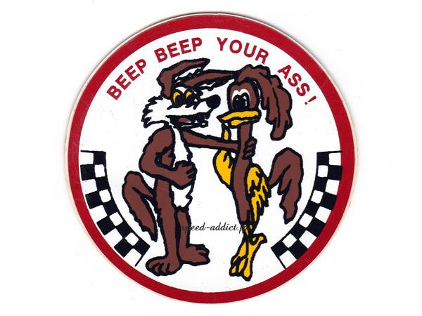 70's VINTAGE Road Runner BEEP BEEP YOUR ASS Sticker 直径75mm