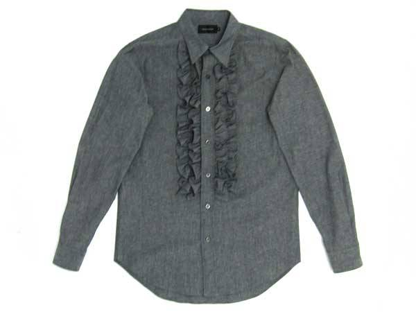 CHAMBRAY FRILL SHIRT BLACK