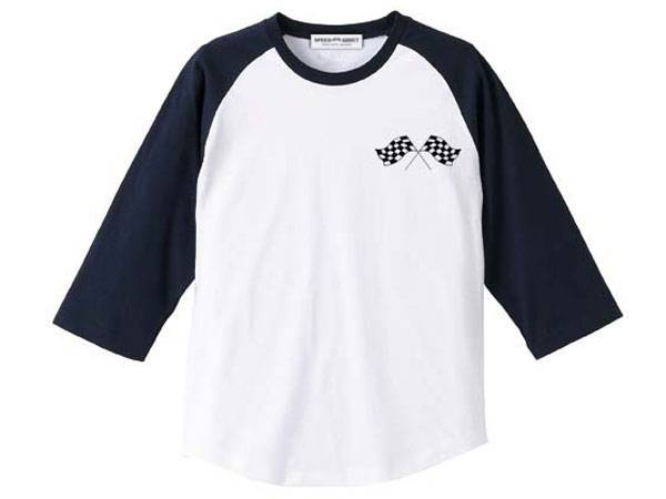 CHECKER FLAGS Raglan 3/4 Sleeves T-shirt WHITE × NAVY