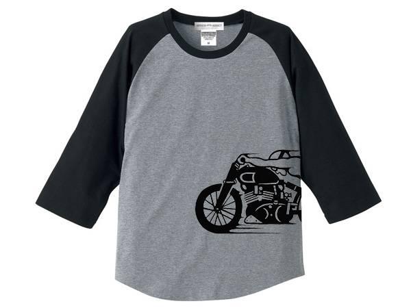 スピードアディクト サイドプリント Raglan 3/4 Sleeves T-shirt GRAY × BLACK