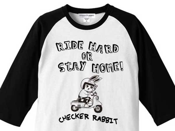 CHECKER RABBIT Raglan 3/4 Sleeves T-SHIRT WHITE × BLACK