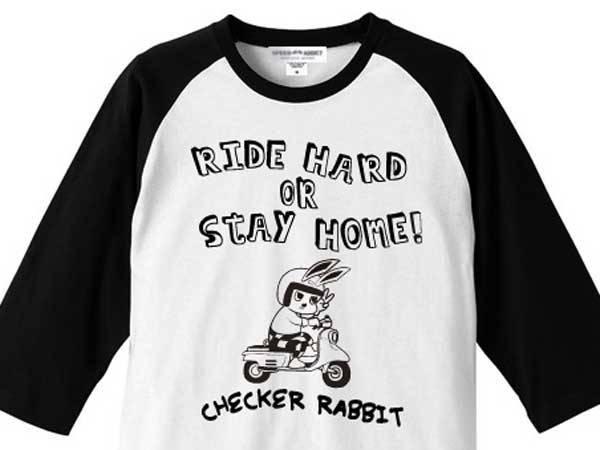 CHECKER RABBIT Raglan 3/4 Sleeves T-shirt(チェッカーラビットラグラン3/4スリーブTシャツ)WHITE × BLACK