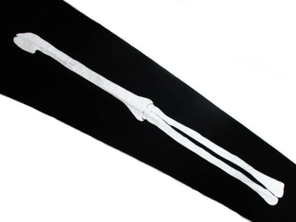 袖BONE 染込プリント L/S T-shirt BLACK