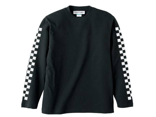 袖CHECKER L/S T-shirt BLACK