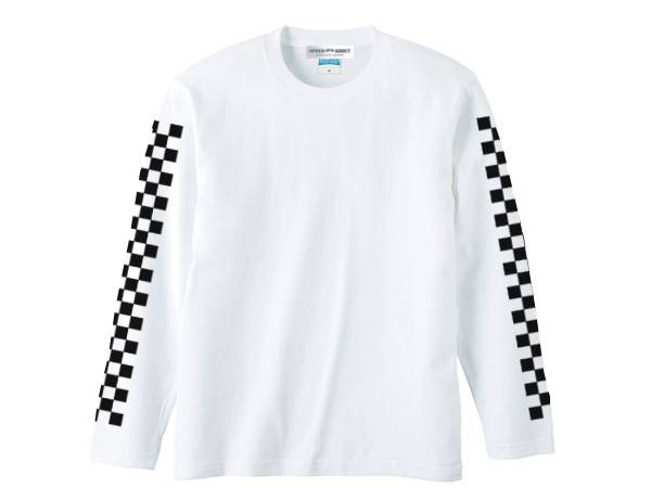 袖CHECKER L/S T-shirt WHITE