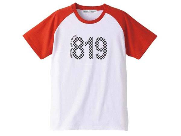 819 Raglan T-SHIRT WHITE × RED