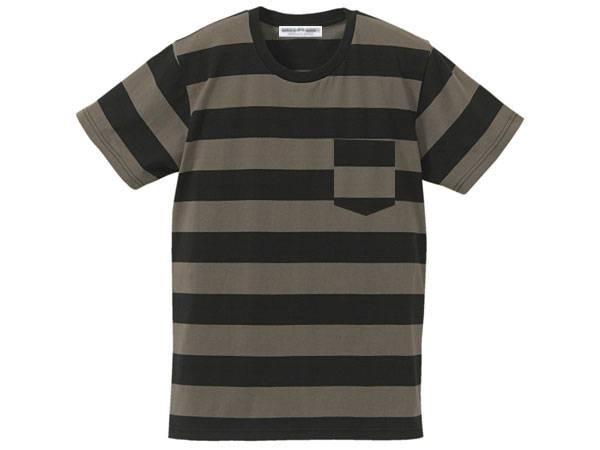 BOLD BORDER POCKET T-shirt BLACK × CHARCOAL