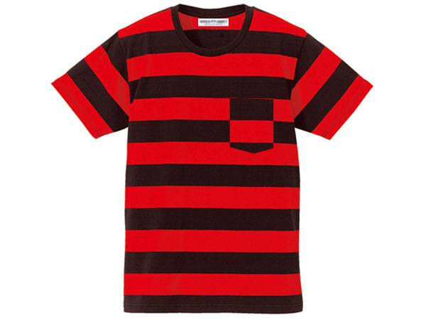 BOLD BORDER POCKET T-SHIRT BLACK × RED