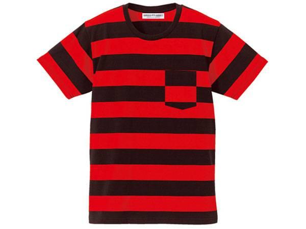BOLD BORDER POCKET T-SHIRT BLACK ×   RED