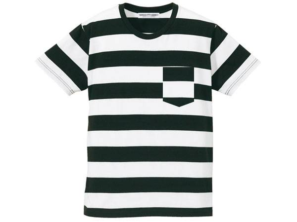 BOLD BORDER POCKET T-SHIRT BLACK × WHITE