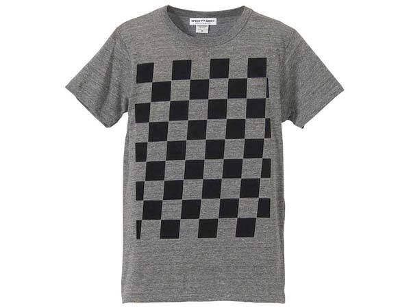 5°CHECKER 染込プリント T-SHIRT GRAY × BLACK