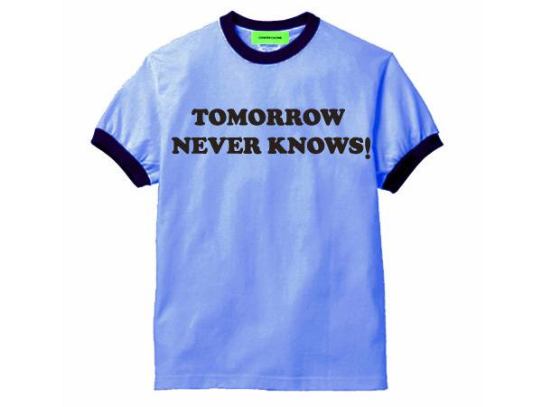 TOMORROW NEVER KNOWS Ringer T-SHIRT BLUE × NAVY
