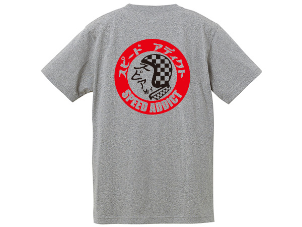 SPEED ADDICT TRADE MARK T-shirt BACK PRINT GRAY