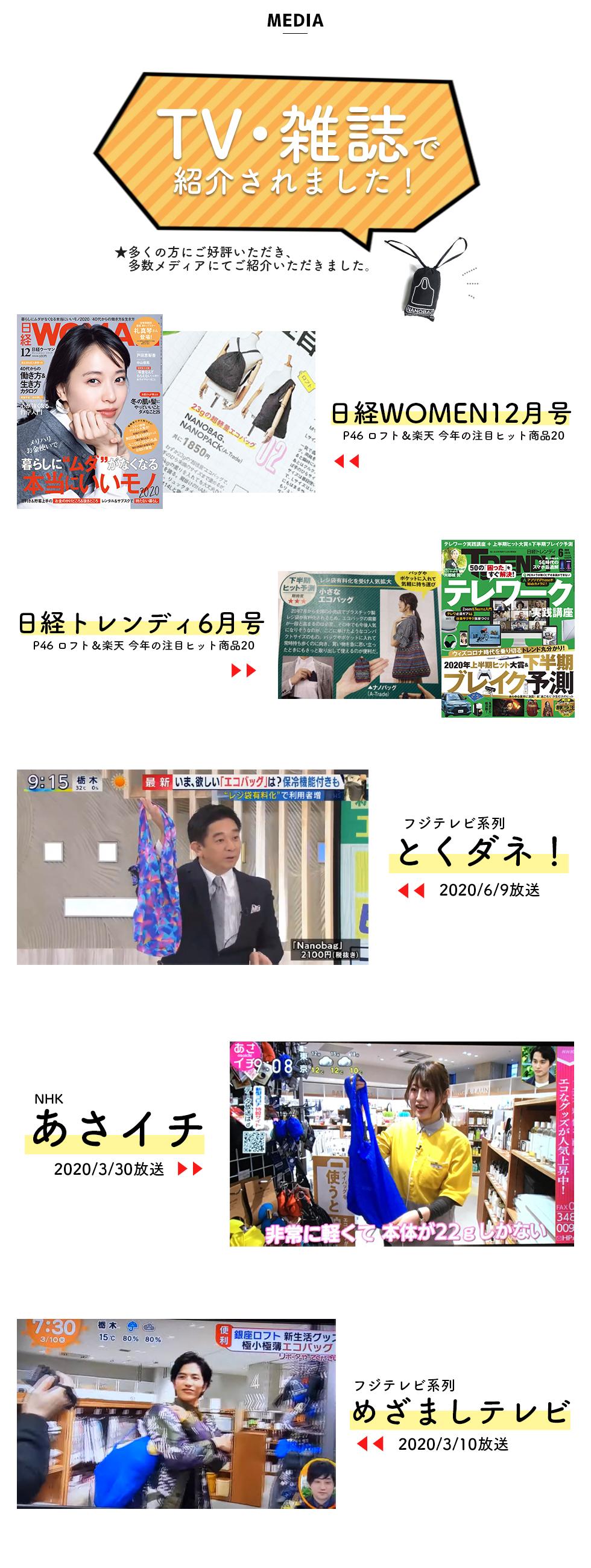 NANOBAG ナノバッグ エコバッグ メディア テレビ 雑誌