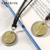 ASTARISK/コインモチーフ日本製本革レザー紐ネックレス