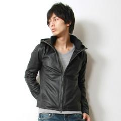 Audience/レザースタンドフードジャケット