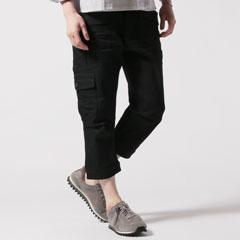 黒×黒ガーデニングクロップドストレッチデニムパンツ