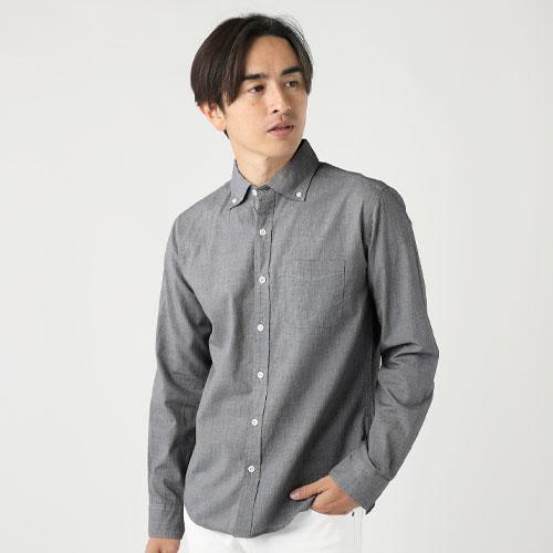 日本製ボタンダウンワイドスプレット長袖シャツ