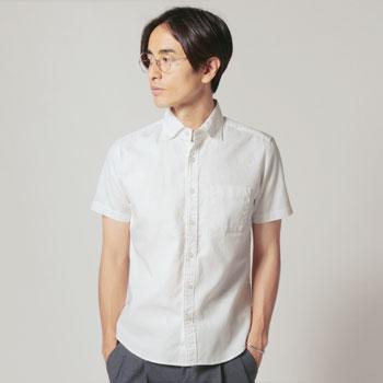 Upscape Audience/日本製ワイドスプレッドボタンダウン半袖シャツ